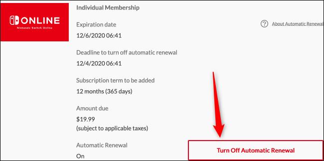 Désactiver le renouvellement automatique (Web)
