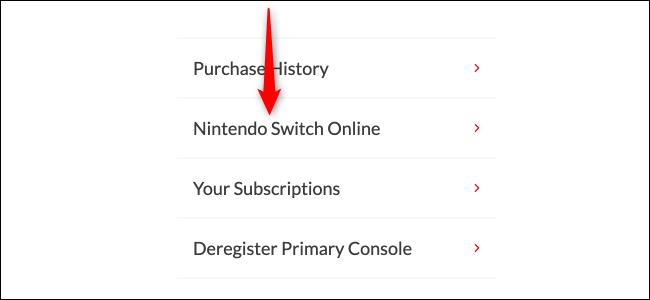 Page en ligne Nintendo Switch
