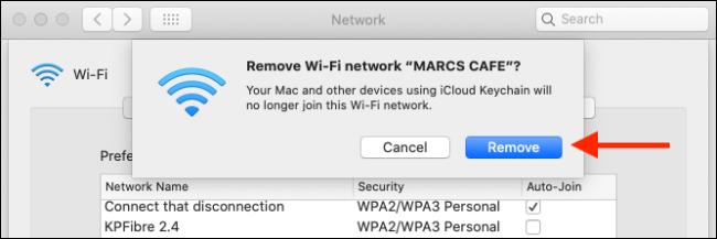 """Cliquez sur """"Supprimer"""" pour supprimer un réseau Wi-Fi de votre Mac et du trousseau iCloud."""