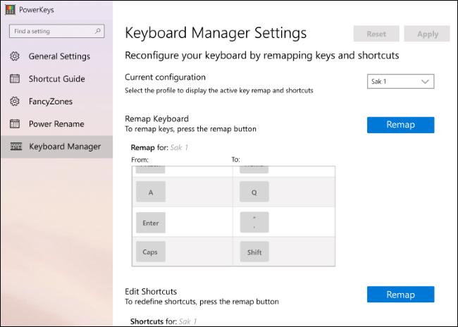 Une première version des paramètres de Keyboard Manager dans PowerToys.