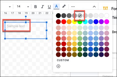 Exemple de texte avec une couleur de texte plus claire appliquée dans Google Drawings