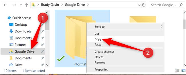 """Cliquez avec le bouton droit sur le dossier que vous souhaitez copier, puis cliquez sur """"Copie."""""""
