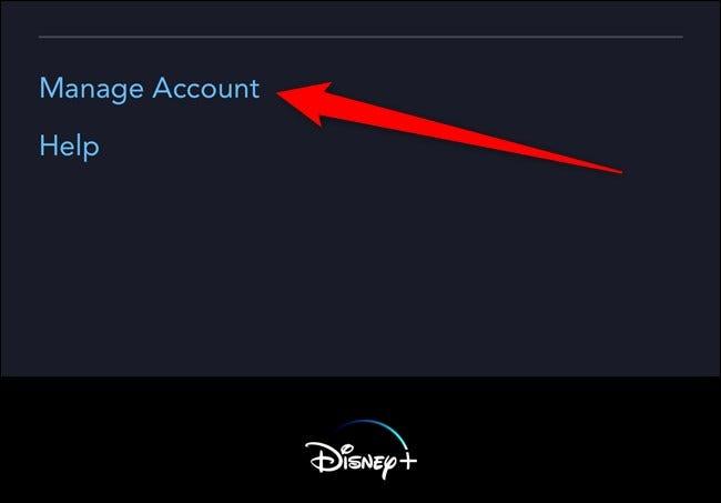 Disney + Tap Gérer le compte