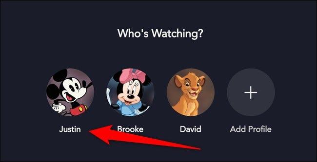 Disney + Sélectionnez votre profil