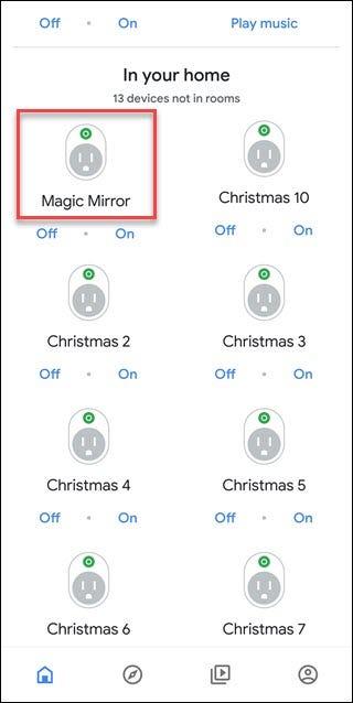 L'application Assistant Google affichant les appareils non attribués, l'appareil Magic Mirror est entouré d'une boîte rouge