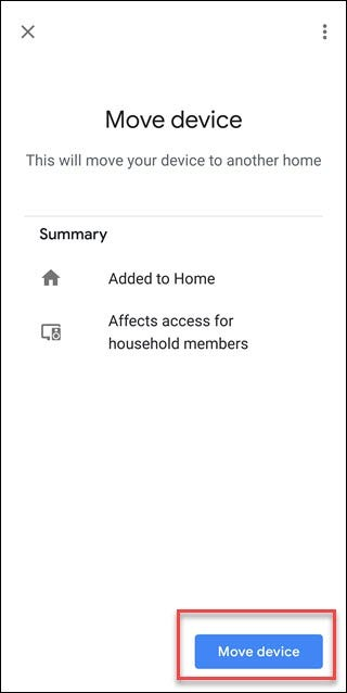 Écran de l'assistant Google avec boîte autour de l'option Déplacer l'appareil