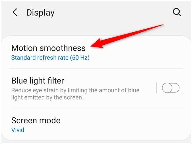 """Samsung Galaxy S20 Sélectionnez le """"Fluidité du mouvement"""" option"""