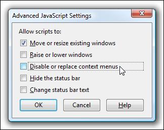 Paramètres Javascript avancés de Firefox