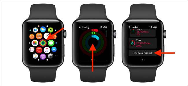 Option Inviter un ami dans Activité sur Apple Watch