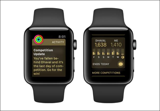 Apple Watch montrant les mises à jour de la concurrence