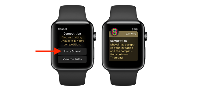 Appuyez sur le bouton Inviter un ami sur Apple Watch