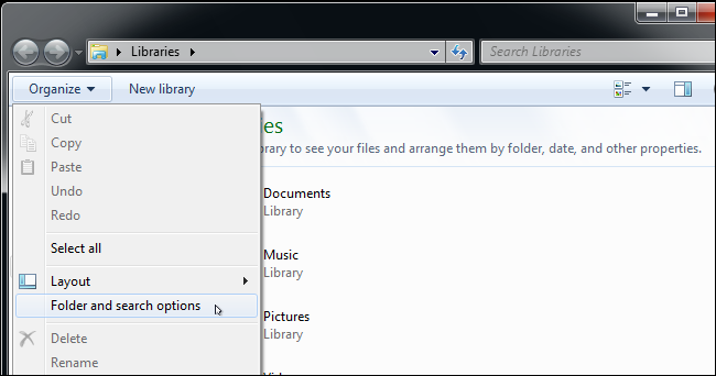 Ouverture du dossier et des options de recherche dans Windows 10