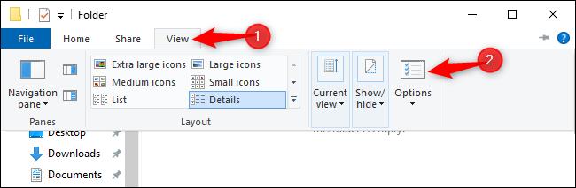 Ouverture de la fenêtre Options des dossiers à partir de l'Explorateur de fichiers sous Windows 10