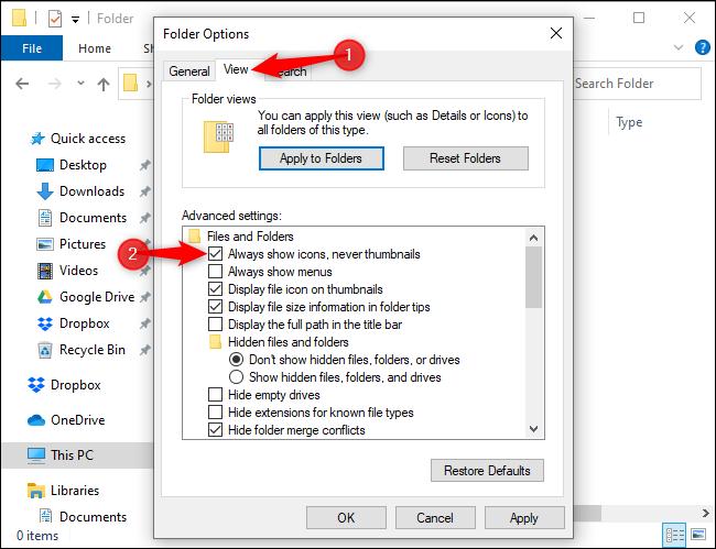Configuration de l'Explorateur de fichiers pour qu'il affiche toujours les icônes et jamais les vignettes