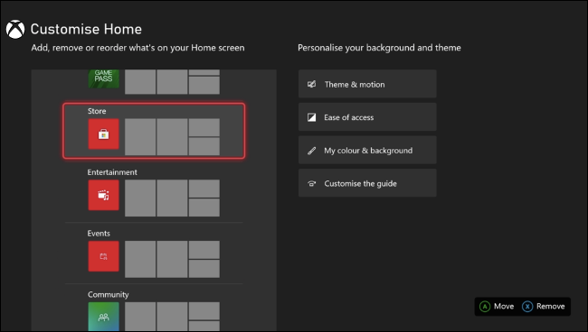 Personnaliser la page d'accueil Xbox