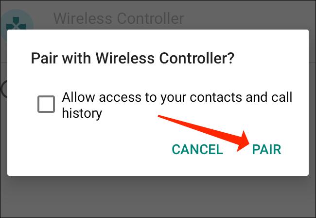 """Robinet """"Paire"""" pour connecter la manette PS5 au téléphone Android."""