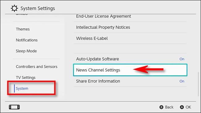 """Dans les paramètres de la console Nintendo Switch, sélectionnez """"Système"""" ensuite """"Paramètres de la chaîne d'information."""""""