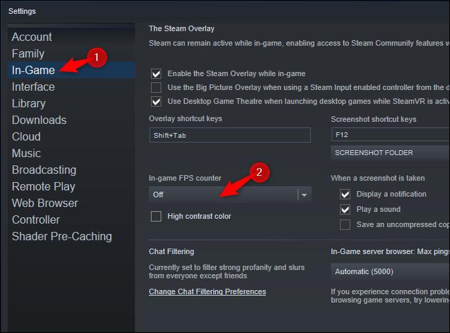 """Sélectionner """"En jeu"""" et choisissez une option parmi """"Compteur de FPS en jeu"""" boîte."""