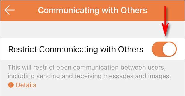 """Dans l'application de contrôle parental Nintendo Switch, activez """"Restreindre la communication avec les autres."""""""