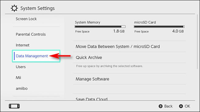 """Dans Changer les paramètres système, sélectionnez """"Gestion de données."""""""