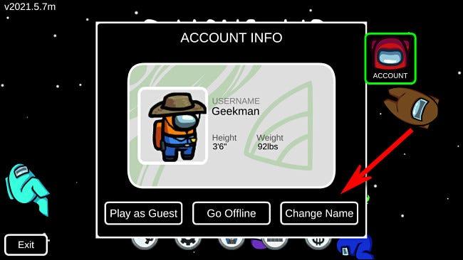 """Dans Parmi nous, sélectionnez """"Changer de nom"""" sur l'écran Compte pour changer votre nom, si vous êtes connecté."""