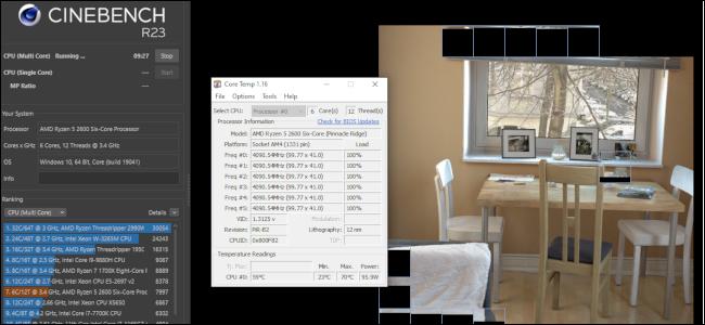 Cinebench exécutant un test de rendu d'image avec une fenêtre Core Temp s'exécutant à côté.