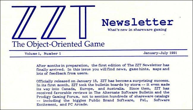Le premier numéro de ZZT Newsletter de 1991