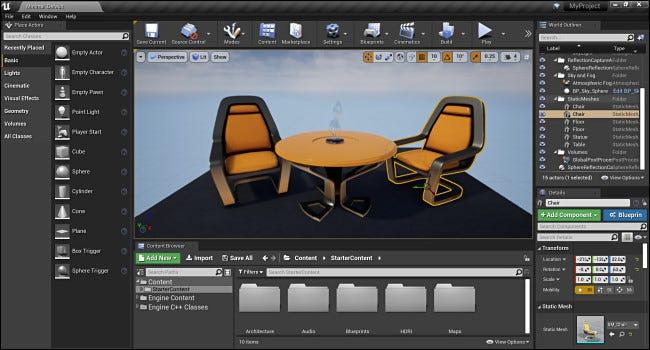 L'interface de l'éditeur Unreal Engine à 4 niveaux