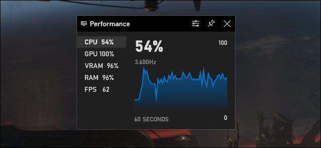 La fenêtre du widget Performance dans la barre de jeu Xbox de Windows 10