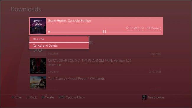 Suspendre et reprendre le téléchargement PS4