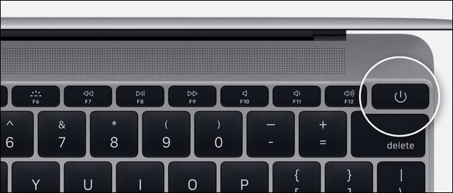 Bouton d'alimentation sur MacBook Pro sans barre tactile
