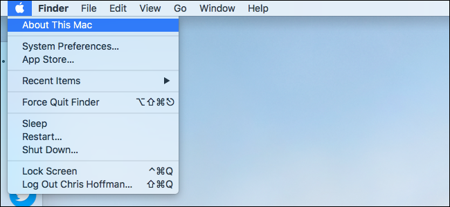 """Cliquez sur le logo Apple et sélectionnez """"À propos de ce Mac."""""""