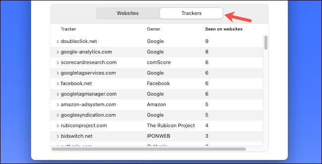 Vérifier la liste des trackers Web sur Safari