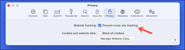 Activer la prévention du suivi intersites sur Safari