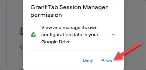 autoriser l'extension à accéder à ses données dans le lecteur