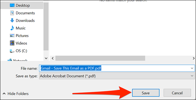 Boîte de dialogue d'enregistrement de fichier Windows