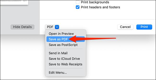 Choisissez Enregistrer au format PDF dans la boîte de dialogue d'impression de Safari