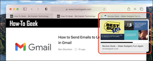 Un exemple d'aperçu d'onglet dans Safari sur Mac