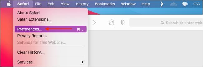 Sélectionnez Préférences dans le menu Safari