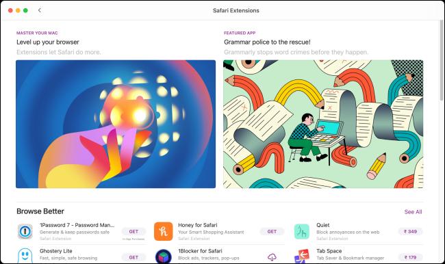 Extensions Safari dans l'App Store en vedette