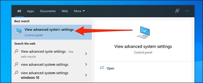Ouvrez les paramètres système avancés de Windows