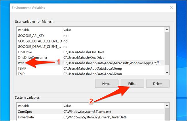 Modifier les chemins sous Windows 10