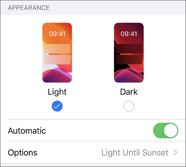 Le menu du mode clair et foncé dans iOS 13.