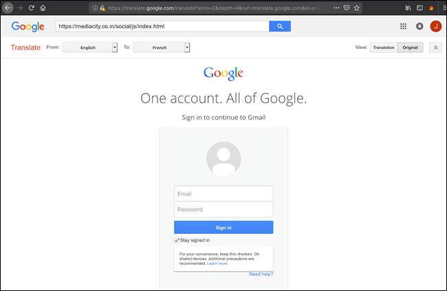 Redirection de phishing Google Translate