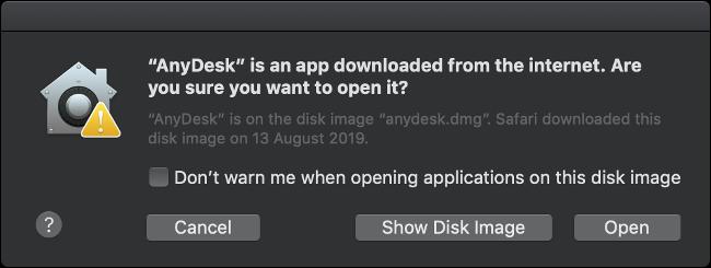 Une alerte macOS GateKeeper, vous demandant si vous êtes sûr de vouloir ouvrir une application tierce.