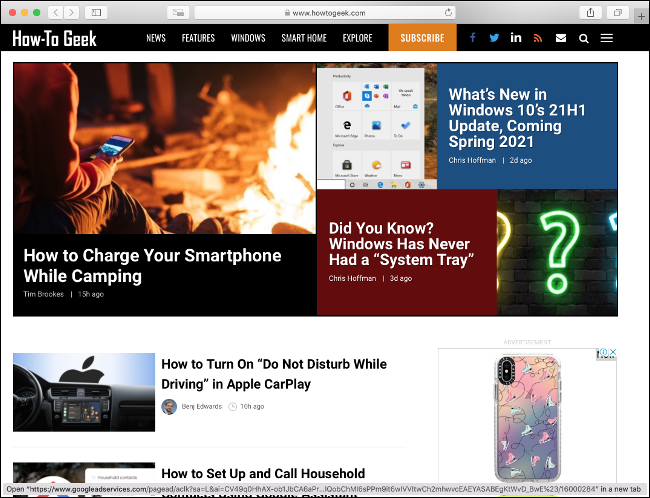 La page d'accueil How-To Geek dans Safari.