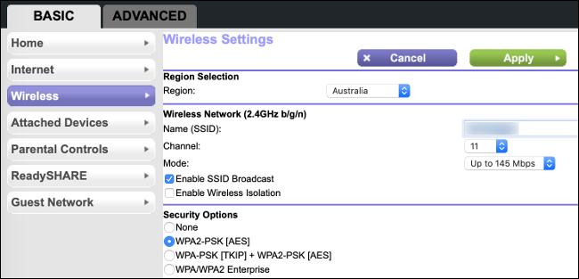 Choisir un canal Wi-Fi dans un menu de configuration de base du routeur.