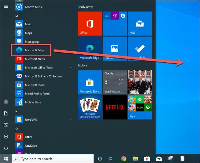 Faites glisser et déposez l'entrée du menu Démarrer de Microsoft Edge sur le bureau pour créer un nouveau raccourci
