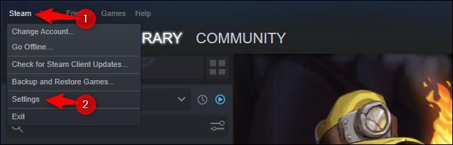 Cliquez sur Steam > Paramètres.