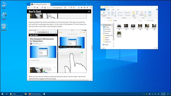 Bureau Windows 10 avec Windows d'application